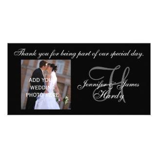 El casarse le agradece el monograma H y mensaje Plantilla Para Tarjeta De Foto