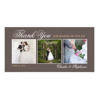 El casarse le agradece en tarjeta de la foto de Br Tarjeta Fotografica Personalizada