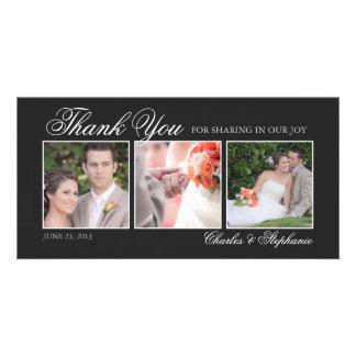 El casarse le agradece en tarjeta negra y blanca d tarjeta fotografica