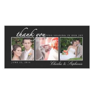 El casarse le agradece en tarjeta negra y blanca d tarjetas personales con fotos