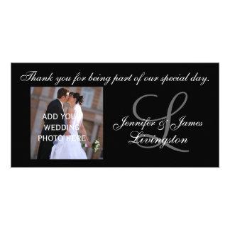 El casarse le agradece fotografía del monograma y  tarjeta fotografica personalizada