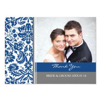 El casarse le agradece gris azul de las tarjetas invitacion personalizada
