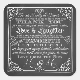 El casarse le agradece los pegatinas Sr. y señora Pegatina Cuadrada