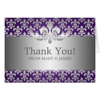 """El casarse """"le agradece"""" púrpura de la flor de lis felicitaciones"""