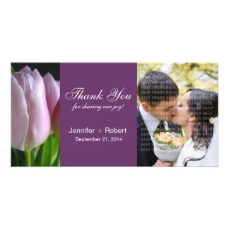 El casarse le agradece tarjeta de la foto plantilla para tarjeta de foto