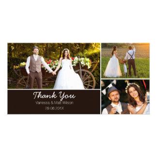 El casarse le agradece tarjeta de la foto tarjeta con foto personalizada