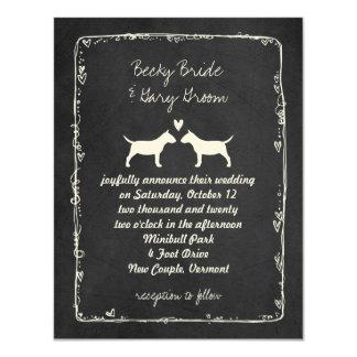 """El casarse miniatura de las siluetas de bull invitación 4.25"""" x 5.5"""""""
