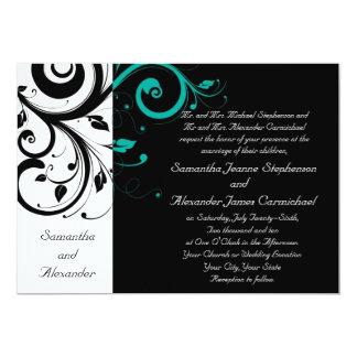 El casarse negro del remolino de la aguamarina invitación 12,7 x 17,8 cm