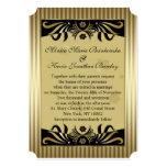 El casarse negro y de oro del art déco de los invitación 12,7 x 17,8 cm