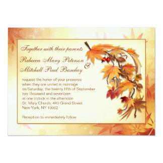 El casarse otoñal de las hojas invitación 13,9 x 19,0 cm