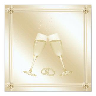 """El casarse pálido de los vidrios y de los zafiros invitación 5.25"""" x 5.25"""""""