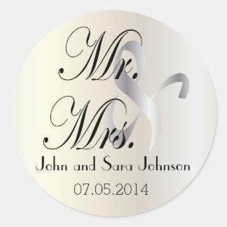 El casarse para Sr. y la señora el | personalizan Pegatina Redonda