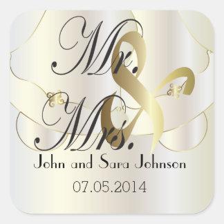 El casarse para Sr. y la señora el | personalizan Pegatina Cuadrada