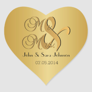 El casarse para Sr. y la señora el | personalizan Pegatina En Forma De Corazón