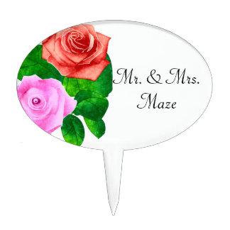 El casarse pasado de moda rojo y rosado de los decoraciones para tartas