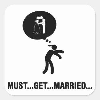 El casarse pegatina cuadradas personalizadas