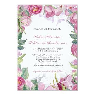 """El casarse pintado a mano de los rosas del color invitación 3.5"""" x 5"""""""