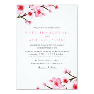 El casarse pintado de las flores de cerezo invita invitaciones personales