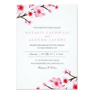 """El casarse pintado de las flores de cerezo invita invitación 5"""" x 7"""""""