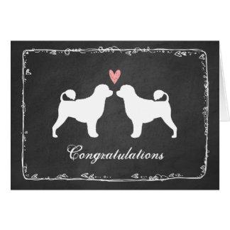 El casarse portugués de los perros de agua le tarjeta de felicitación