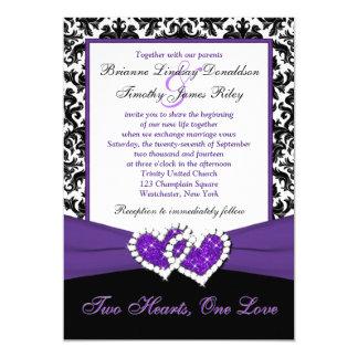 """El casarse púrpura blanco negro de los corazones invitación 5"""" x 7"""""""