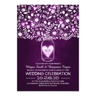 """el casarse púrpura de las flores del tarro de invitación 5"""" x 7"""""""