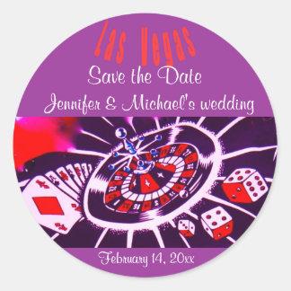 El casarse púrpura de Las Vegas de la pasión Pegatina Redonda