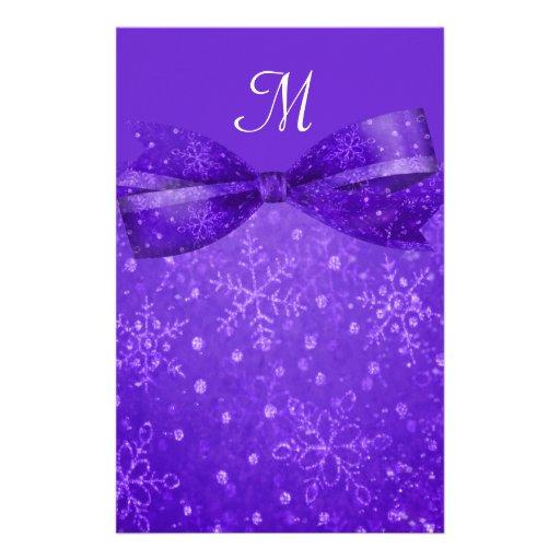 El casarse púrpura de los copos de nieve de la pas papelería personalizada