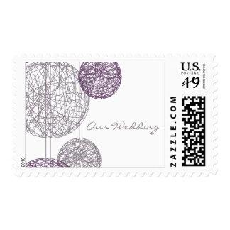 El casarse púrpura de los globos de la guita sellos postales