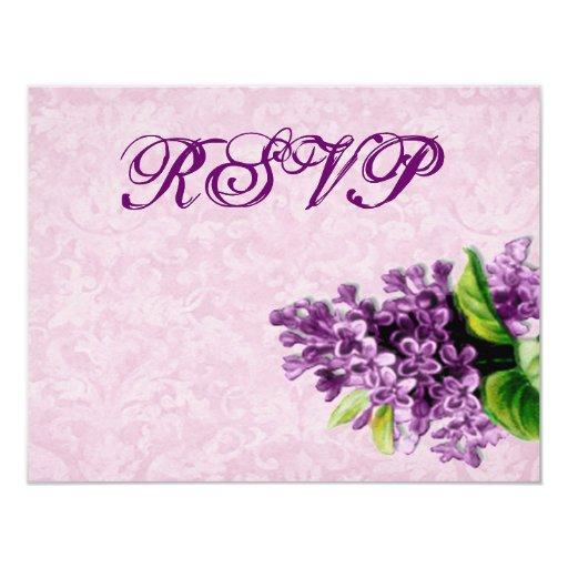 """El casarse púrpura de RSVP de la lila del vintage Invitación 4.25"""" X 5.5"""""""