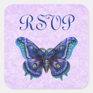 El casarse púrpura de RSVP de la mariposa del Pegatinas Cuadradas Personalizadas