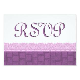 """El casarse púrpura de RSVP del cordón Invitación 3.5"""" X 5"""""""