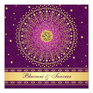 """El casarse púrpura hindú de las volutas del oro de invitación 5.25"""" x 5.25"""""""