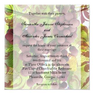El casarse púrpura/verde del viñedo elegante de comunicados personalizados