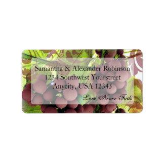 El casarse púrpura/verde del viñedo elegante de la etiquetas de dirección
