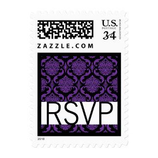 El casarse púrpura y negro de RSVP del damasco