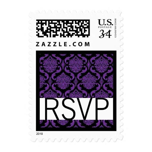 El casarse púrpura y negro de RSVP del damasco Sello