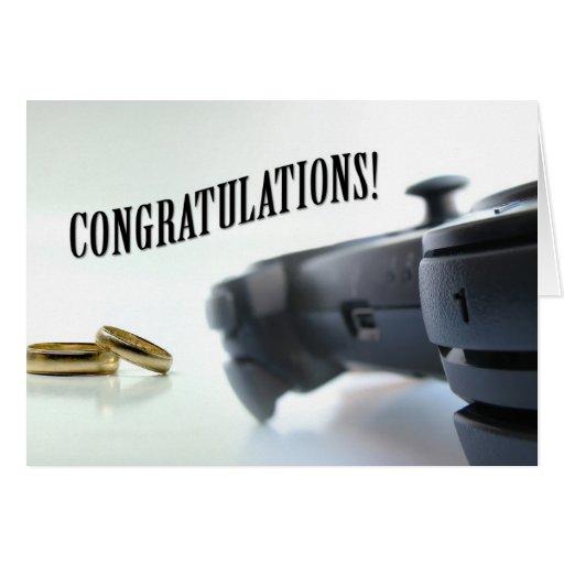 El casarse - regulador y anillos tarjeta de felicitación