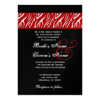 """El casarse rojo de la llama de la cebra metálico invitación 5"""" x 7"""""""