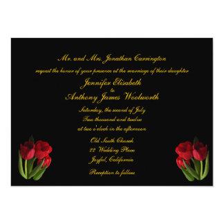 """El casarse rojo de los tulipanes invitación 5.5"""" x 7.5"""""""