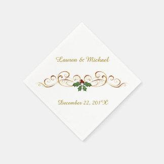 El casarse rojo elegante del navidad del acebo servilleta desechable