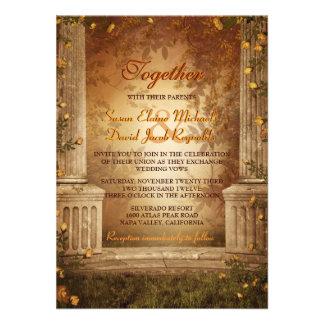 El casarse romántico de las hojas y de las columna
