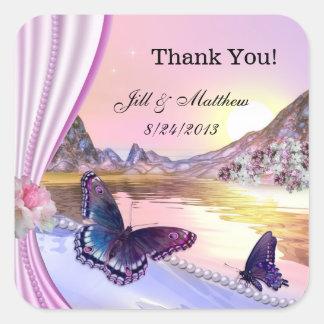 El casarse romántico de las mariposas le agradece pegatina cuadrada