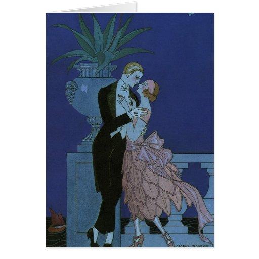El casarse romántico de los recienes casados del a tarjetón