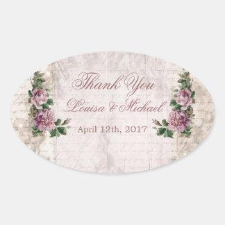 El casarse rosa claro de los rosas del vintage le pegatina ovalada