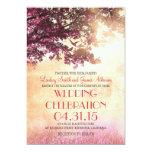 El casarse rosado coralino de los pájaros del invitaciones personalizada