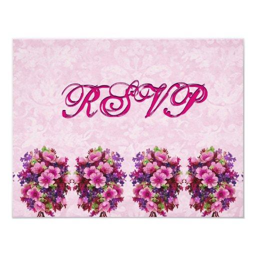 """El casarse rosado de RSVP de las flores del Invitación 4.25"""" X 5.5"""""""