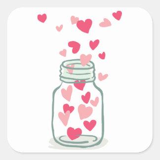 El casarse rosado y rojo del amor de los corazones pegatina cuadrada