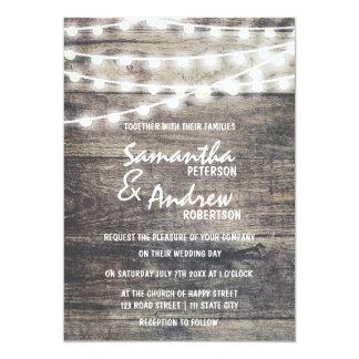 """El casarse rústico de las luces de madera y de la invitación 5"""" x 7"""""""