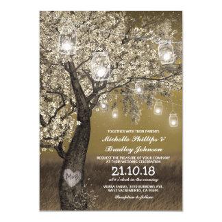 """El casarse rústico de las luces del cerezo y de la invitación 5"""" x 7"""""""